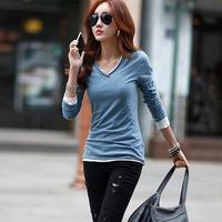 2014 Autumn new women's fashion Korean yards Slim primer shirt wild cotton long-sleeved t-shirt women burr