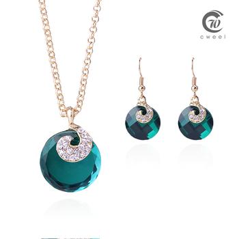 Комплект с ожерельем золото заполненные ожерелье серьги сапфировое стекло женщин свадебные аксессуары африканских бусины ювелирные изделия комплект