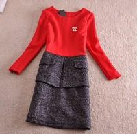 Original Brand Women Autumn Winter Black Red Patchwork Grey 3/4Sleeve Dress Plus Size Dress Pocket Woolen Cottoned Patchwork Top