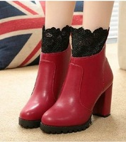 2014 Size 35-39 Winter Women Fashion Lace Thik Heel Ankle Boots Lady Party Short Boots
