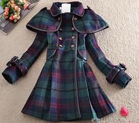 Free shipping, M-XXL,women's autumn winter woolen trenchovercoat long belt line,large size