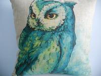 "New Cotton Linen Square Throw Pillow Case Cushion Cover  pillowcase Shell Watercolor Owl 18"""