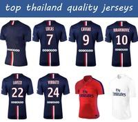 2015 VERRATTI soccer jerseys Top Thai quality IBRAHIMOVIC PASTORE DAVID LUIZ CAVANI SILVA LUCAS 14 15 Football Jersey