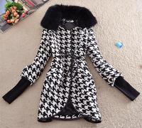 Free shipping, M-XXL,women's autumn winter woolen trench Rabbit fur collar overcoat long belt line,large size