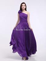2014 One-Shoulder Ruched Chiffon Grape Purple Grace Bridesmaid Dress Party Prom Gowns Dresses