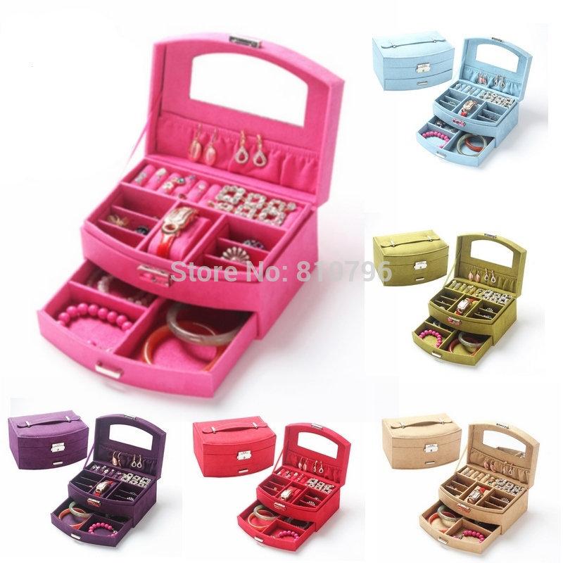 Luxury Jewelry Display Suede Pattern Casket Senior Jewelry Packaging Box Organizer Case For Jewelry Storage 2 Layers Gift Box(China (Mainland))