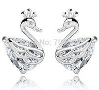 FD1198 Silver Plated Crystal Rhinestones Gem Swans White Sapphire Earring Stud