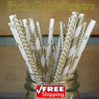 200pcs Pick Your Designs Metallic Gold Paper Straws for Wedding Christmas, Striped,Chevron,Polka Dot,Heart,Star,Sailor Stripe
