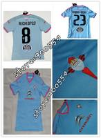 3A+++Thailand Quality Celta VIgo Soccer Jerseys 14/15 Alex Lopez Oubina Nolito Fabian Augusto Futbol Camiseta Celta Blue Shirts