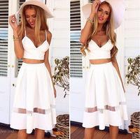 2015 summer sexy white two piece spaghetti bra lets crop top mesh midi dress set  holiday beach maxi dress