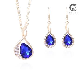 Ожерелье серьги сапфир CZ кристалл женщин свадебные аксессуары африканских бусины ожерелья комплект золото заполнил ювелирные изделия комплект