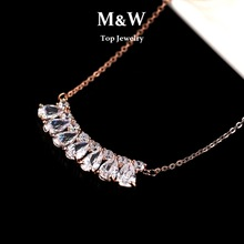 Top Quality! High Quality Rose Gold Plated AAA+ Cubic Zirconia Water Drop Necklaces For Women Wedding  Gifts(China (Mainland))