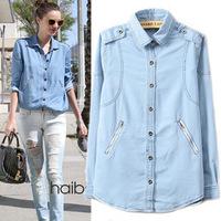 Europe&America High Quality,Victoria Beckham Tops,2014 Spring Autumn New,Women Fashion Loose Denim Blouse&Shirt,Sky Blue S-XL