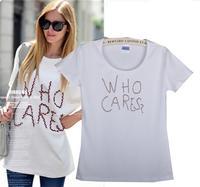 Free Shipping New Women's Casual Slim Short-sleeved White T-shirt Printed Cotton T-shirt  08