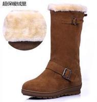 2014 Winter Thicken High Top Boots Women snow boots wedge metal buckle ladies mid calf snow shoes woman botas de neve WSH128
