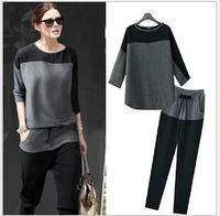 Victoria Beckham Plus Size 2014 Autumn New Casual Loose Black Gray Patchwork Knit Cotton Women's Sweatshirt Sport Two-piece Suit