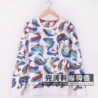 New Fashion 2015  Graffiti dollarfish doodle multicolour lovers pullover sweatshirt male Women  free shipping