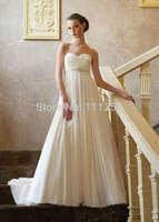 Chiffon Empire Waist Beads Maternity Bridal Wedding Dress Custom Made