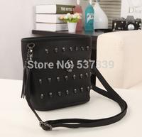 Korean cell phone pocket mini skull rivets tassel female bag small bag shoulder bag clutch