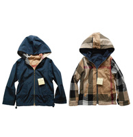 New arrival 5pcs/lot fashion brand plaid spring autumn baby boy jackets hooded kids outerwear twosides wear Baby clothing 3411