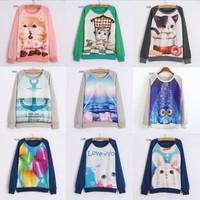 [Magic] Hot ! lovely cartoon/Animal print sweatshirts women oneck long sleeve cotton hoodies casual sweatshirt one size 21models