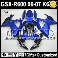 Blue BLK 7gifts+Cowl HOTFor SUZUKI K6 06 07 GSXR600 GSX-R600 HOT Blue black JK3631 GSXR 600 2006 2007 GSXR-600 Fairing Bodywork