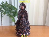 "9 "" Tibetan Buddhist bronze Shakyamuni  Guanyin Ksitigarbha buddha statue 24 cm"