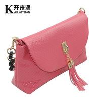Free Shipping 4 Colors  Women Fashion Zipper Knurling Tassel Magnetic Snap PU Messenger Bags Handbags Thin Single-Should Bag