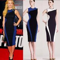 2014 New Fashion Women Elegant Vintage Geometry Sleeveless Sexy  Bandage Dress O-Neck Bodycon Party Evening Slim Pencil Dress