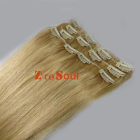 "ZS AAA+ Hot Selling : 20""-26"" Clip Straight Hair Extension 105g Light Golden Blonde,#22,Free Shipping"