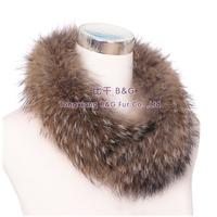 BG30549 Natural Brown Genuine Raccoon Fur Collar For Women Winter Warm Scarves Free Shipping