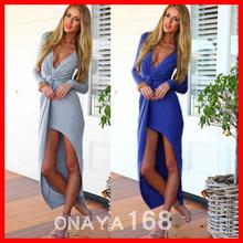 2014 Fashion Trend Avant-Garde V-Neck Long-Sleeved Dress Irregular Long Party Dresses Women Long Dress Sexy Dress