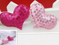wholesale lot  fabric sequin heart patch felt  applique hair accesory DIY 4x4.6cm