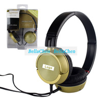 Gold-plated l-shaped stereo mini plug headphones folding design for sony earphone Mobile computer MP4 music headset zx300