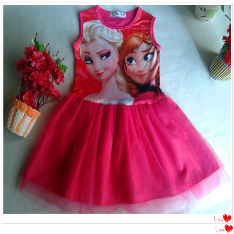 2015 Summer Kids Girls Dresses Princess Elsa & Anna Costume Sleeveless Sundress Girl's Fashion Pinafore Dress Cotton O-Neck CW20(China (Mainland))