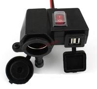 Free Shipping Waterproof Motorcycle 2 USB Cigarette Lighter Power Port Integration Outlet Socket 12V / 2.1A