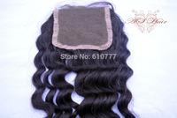 """Vir-gin Hair Closure 4""""x4"""" Size Deep Wave 10""""-20"""" hu-man hair extension free shipping"""