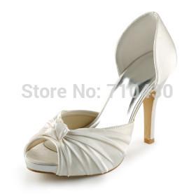 Customized White Bridal Shoes Big Sizes 14 High Heels W-MZ281(China (Mainland))