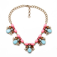 Retro Texture Crystal Flowers Women's Sweater Necklace