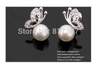 Pearl Stud Earring for Women Fashion Earrings Bowknot Jewelry Song Hye Kyo