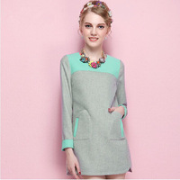 2014 new winter OL fashion show thin long sleeved bottoming hit color hair Neqiu Outfit dress female