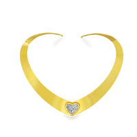 Free Shipping Christmas Gifts 2015 Top Fanshion Torques 18K Gold Plated CZ Diamond Heart Choker Necklaces For Women