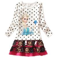 Girl Clothes Frozen Dress Elsa Anna Children's Clothing 100% Cotton Autumn Baby clothing short girls party lace dress
