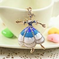 Great Gift for girl women Rhinestone Dancing Ballet Girl Key chain metal Keychain Alloy Keyring,Gold Plated ,Handbag Charms