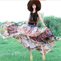 Free Shipping Bohemian Long Maxi High Waist Women Chiffon And Denim Patchwork Floral Skirts With Big Hem Ruffle Layered Skirt XL