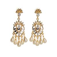 Luxury Crystal Pearl Flower Noble Ladies Earrings