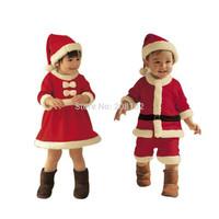 New 2-4Years Kids Winter sets Boy Coat  + Pant Girl Dress Children Santa Suit Novelty Costume Baby Christmas Clothing Sets