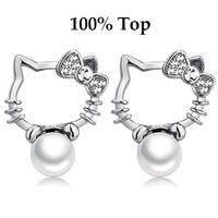 Min Order 9$ (mix)! Cute Cat Imitation Pearl Kitty Stud Earrings Jewelry for Girls and Women
