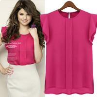 2014 New fashion women short sleeve tee blouse top butterfly sleeve irregual Chiffon blouse S-XL plus size blusas femininas