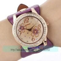 100pcs/lot WOMAGE-628-4 Big Strap Crystal Flower Watch Hot Sale Casual Leather Watch Wrap Quartz  Dress Watch 2 Colors